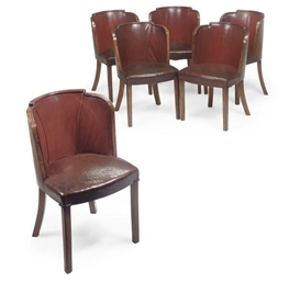 A SET OF SIX ART DECO WALNUT-F