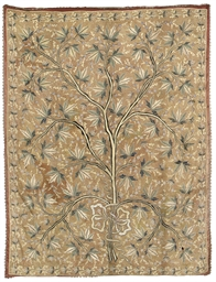 A WALL HANGING, EMBROIDERED WI