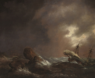 Shipping in a storm off a rock