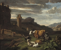 A wooded landscape with cattle and sheep