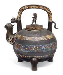 A CHINESE BRONZE AND CLOISSONE