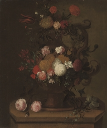 Chrysanthemums, carnations, ro