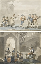 Un couple dansant le 'saltarello', entouré de musiciens; et Des femmes et des enfants se recueillant devant une chapelle éclairée à Tivoli
