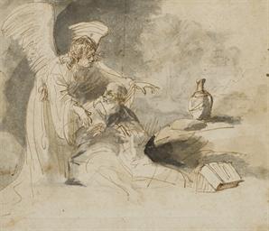 Elie et l'ange dans le désert