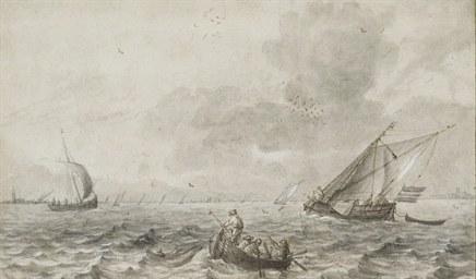 Marine avec barque et voiliers