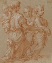 Une femme portant un bébé sur son dos accompagnée de deux enfants