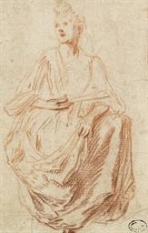 Une femme assise tenant un éve