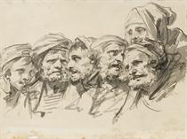 Six têtes d'hommes