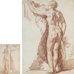 Femme nue de dos, le bras gauc