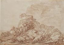 Une charrette embourbée devant un troupeau de moutons et entourée de paysans
