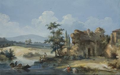 Une lavandière et des pêcheurs