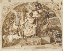 Napoléon siégeant sur un trône avec l'allégorie de la Renommée et l'allégorie de Rome qui tient Napoléon II dans ses bras