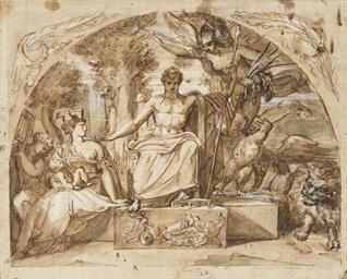 Napoléon siégeant sur un trône