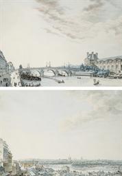 Vue du Louvre avec le pont du