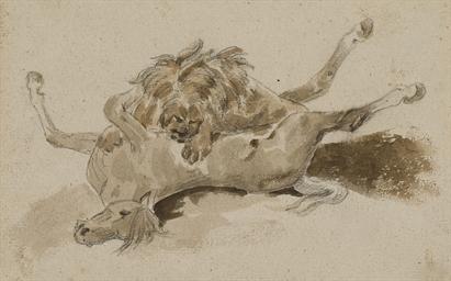 Un lion dévorant un cheval