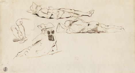 Trois soldats allongés et coif
