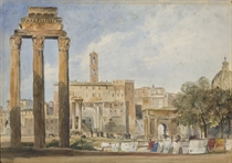 Vue du Forum à Rome avec le temple de Vespasien au premier plan