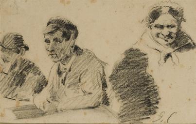 Deux hommes en buste et une fe