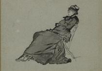 Femme au chapeau assise dans un pliant