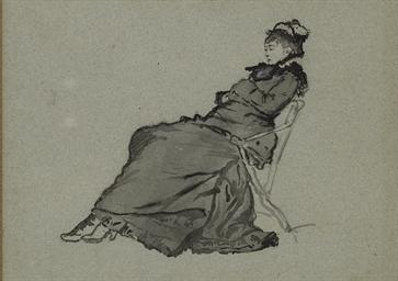 Femme au chapeau assise dans u