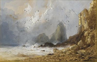 Scène de tempête sur une côte