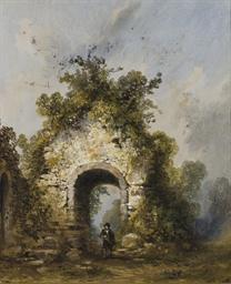 Une église en ruine entourée d