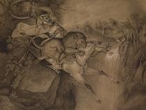 Un lion attaquant un cheval tandis que son cavalier s'accroche à une branche, dans un paysage exotique