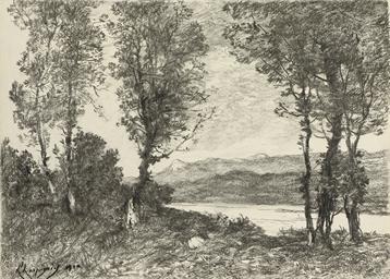 Des arbres au bord d'un lac, d
