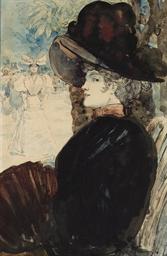 Jeune femme au chapeau vue de