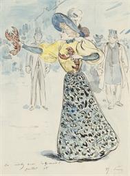 Une femme au chapeau entourée