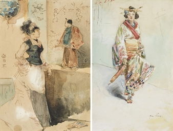 Japonaise en kimono, une ombre