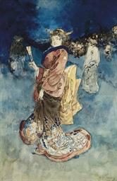 Une femme en kimono tenant un