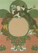 Projet d'affiche: deux femmes assises entourées de fleurs