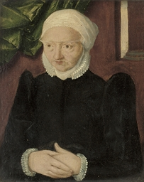 Portrait of an old woman, half