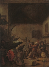 Peasants brawling in a tavern