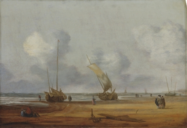A coastal landscape with fishi