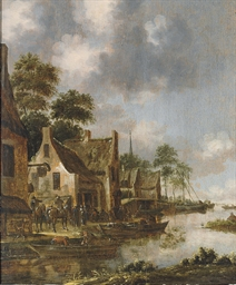 A river landscape with fishing