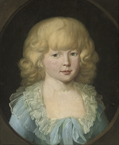 Portrait of a young boy, traditionally identified as Prince Louis Ferdinand of Prussia (1772-1806), half-length, in a blue costume with a white collar, in a feigned oval