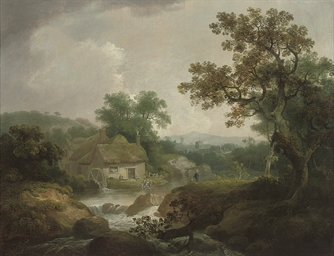 A wooded river landscape, trad