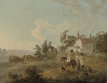 A landscape with travellers in a horse-drawn carriage, and figures conversing by a track