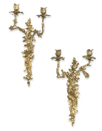 A PAIR OF FRENCH ORMOLU TWO-LI