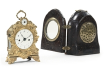 A SOUTH GERMAN ORMOLU STRIKING AND REPEATING TRAVEL CLOCK WITH ALARM