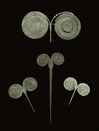 TWO EUROPEAN BRONZE SPIRAL PIN
