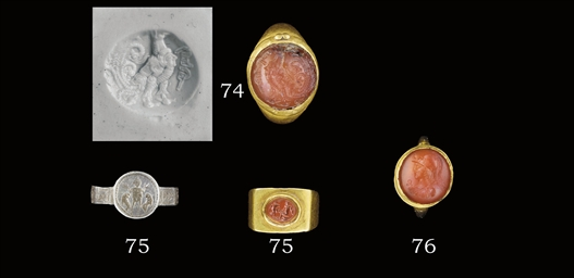 A ROMAN GOLD RING WITH JASPER