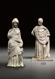 TWO GREEK TERRACOTTA STANDING