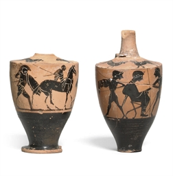 TWO ATTIC BLACK-FIGURE LEKYTHO