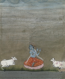 FOUR PAINTINGS OF KRISHNA, BIK