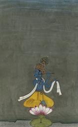 KRISHNA FLUTING ON A LOTUS, BI