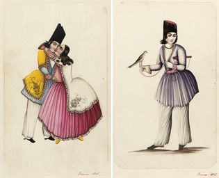 A SET OF FIVE QAJAR WATERCOLOU
