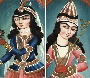 A PAIR OF QAJAR REVERSE GLASS